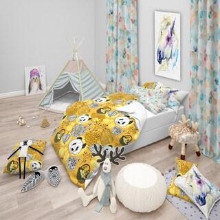 Designart - Cute Doodle Panda - Oriental kids Duvet Cover Set
