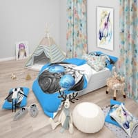 Designart 'Pug Dog with Mirror Sunglasses' Modern & Contemporary Bedding Set - Duvet Cover & Shams