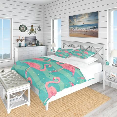 Designart 'Pink Flamingo Birds' Tropical Bedding Set - Duvet Cover & Shams
