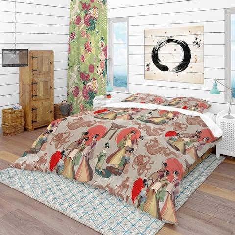 Designart 'Japanese & Chinese Culture Pattern' Oriental Bedding Set - Duvet Cover & Shams
