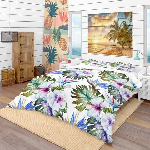 Designart 'Watercolor Hibiscus Patterns' Tropical Bedding Set - Duvet Cover & Shams