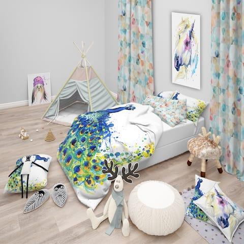 Designart 'Exotic Peacock Watercolor' Modern & Contemporary Bedding Set - Duvet Cover & Shams