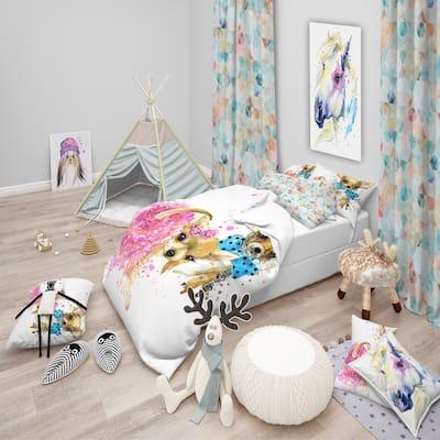 Designart 'Bridge and Groom Dog Illustration' Modern & Contemporary Bedding Set - Duvet Cover & Shams