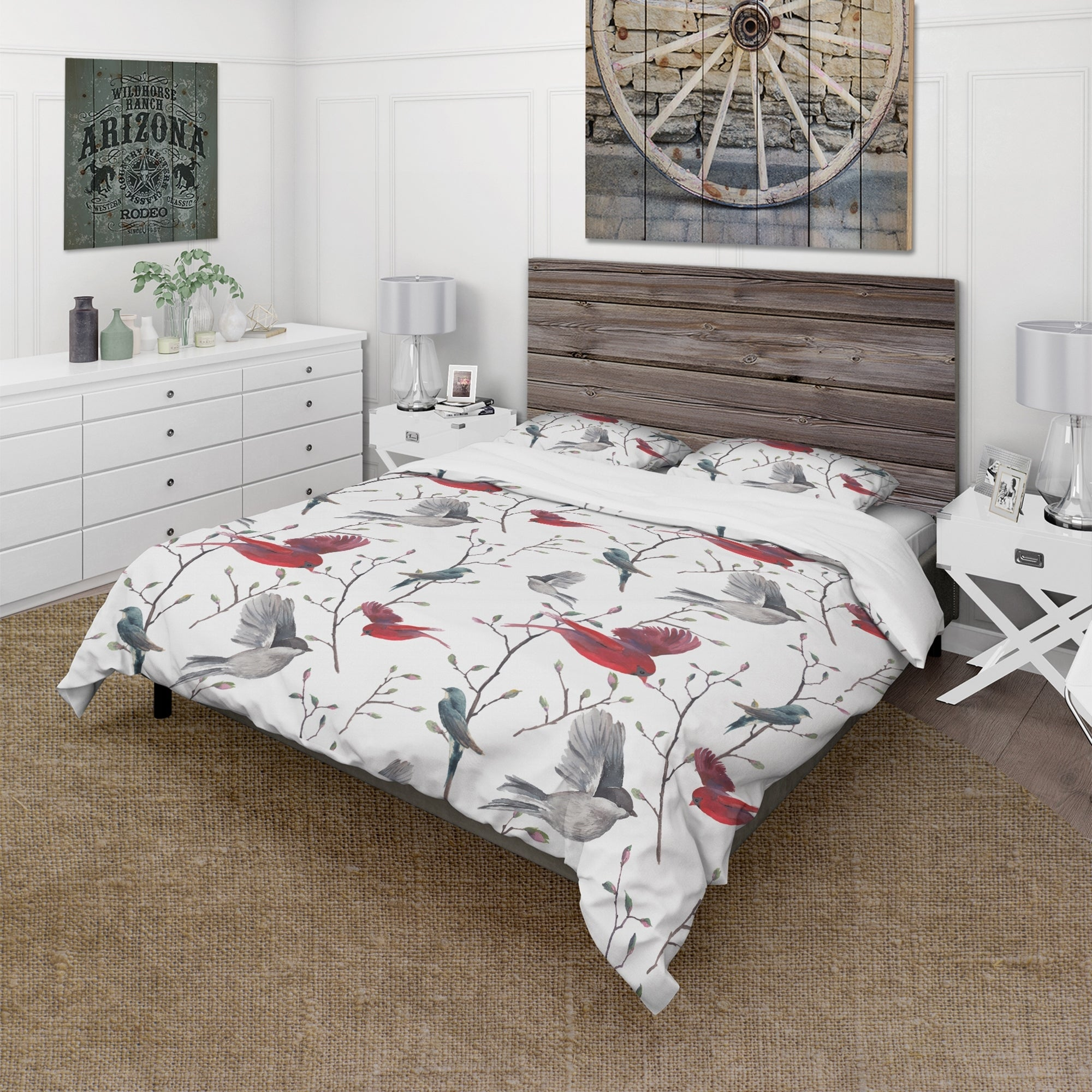 Designart Pattern With Birds Farmhouse Bedding Set Duvet Cover Shams On Sale Overstock 23506291