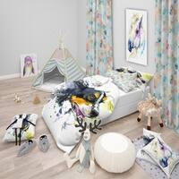 Designart 'Dog and Yellow Ball Watercolor' Modern & Contemporary Bedding Set - Duvet Cover & Shams