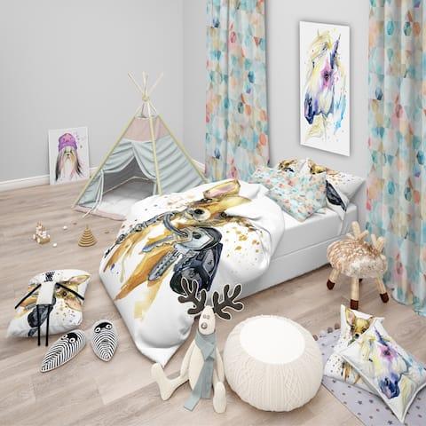 Designart 'Brown Toy Terrier Dog Watercolor' Modern & Contemporary Bedding Set - Duvet Cover & Shams