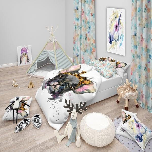Designart 'Serious Black French Bulldog' Modern & Contemporary Bedding Set - Duvet Cover & Shams