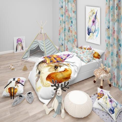 Designart 'Cute Labrador Dog Watercolor' Modern & Contemporary Bedding Set - Duvet Cover & Shams