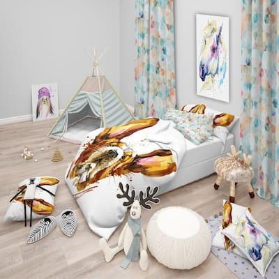 Designart 'Funny Brown Dog Basset' Modern & Contemporary Bedding Set - Duvet Cover & Shams