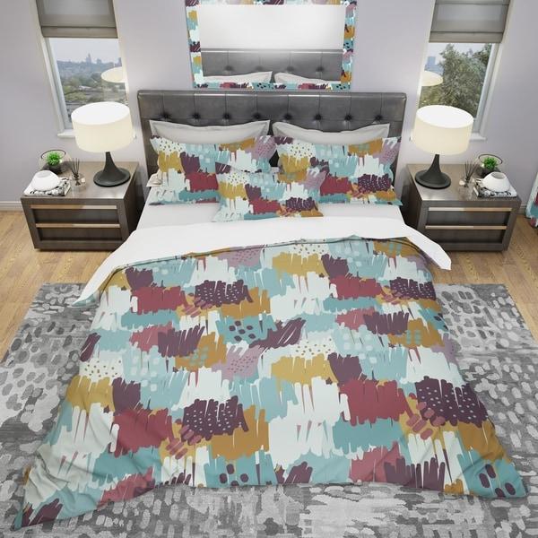 Designart 'Pattern Witch Sketch Texture' Modern & Contemporary Bedding Set - Duvet Cover & Shams