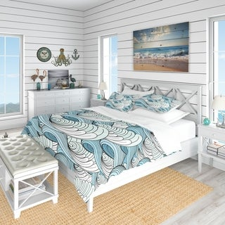 Designart 'Great Wave inspiration' Coastal Pattern Bedding Set - Duvet Cover & Shams