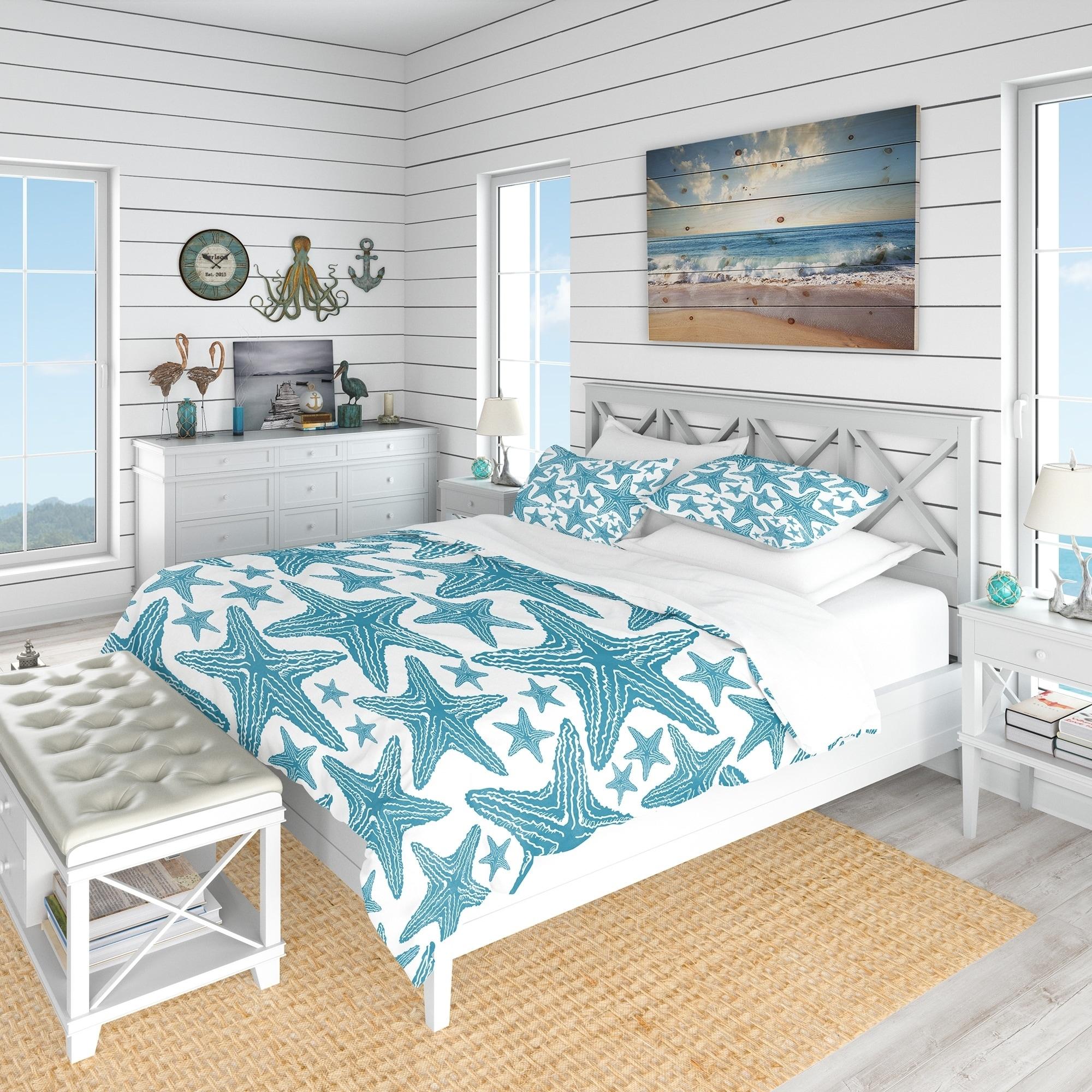 Designart Pattern Of Blue Starfish Coastal Bedding Set Duvet Cover Shams Overstock 23506317 Full Queen Cover 2 Shams Comforter Not Included