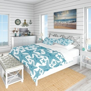 Link to Designart 'Pattern of Blue Starfish' Coastal Bedding Set - Duvet Cover & Shams (As Is Item) Similar Items in As Is