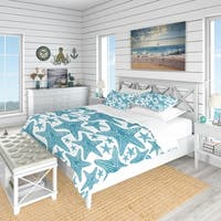 Designart 'Pattern of Blue Starfish' Coastal Bedding Set - Duvet Cover & Shams