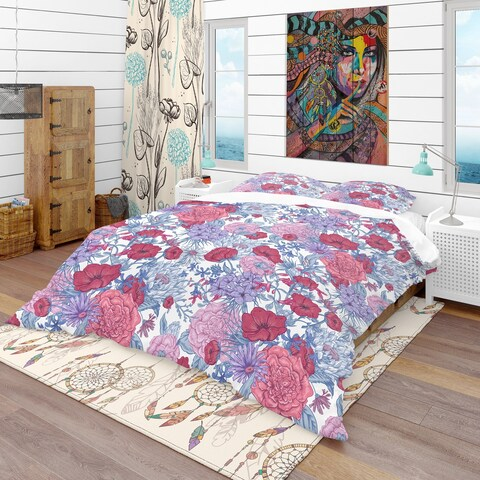 Designart 'Gentle Retro Summer Floral Pattern' Eclectic Bedding Set - Duvet Cover & Shams