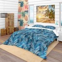 Designart 'Tropical Palm Leaves' tropical Bedding Set - Duvet Cover & Shams