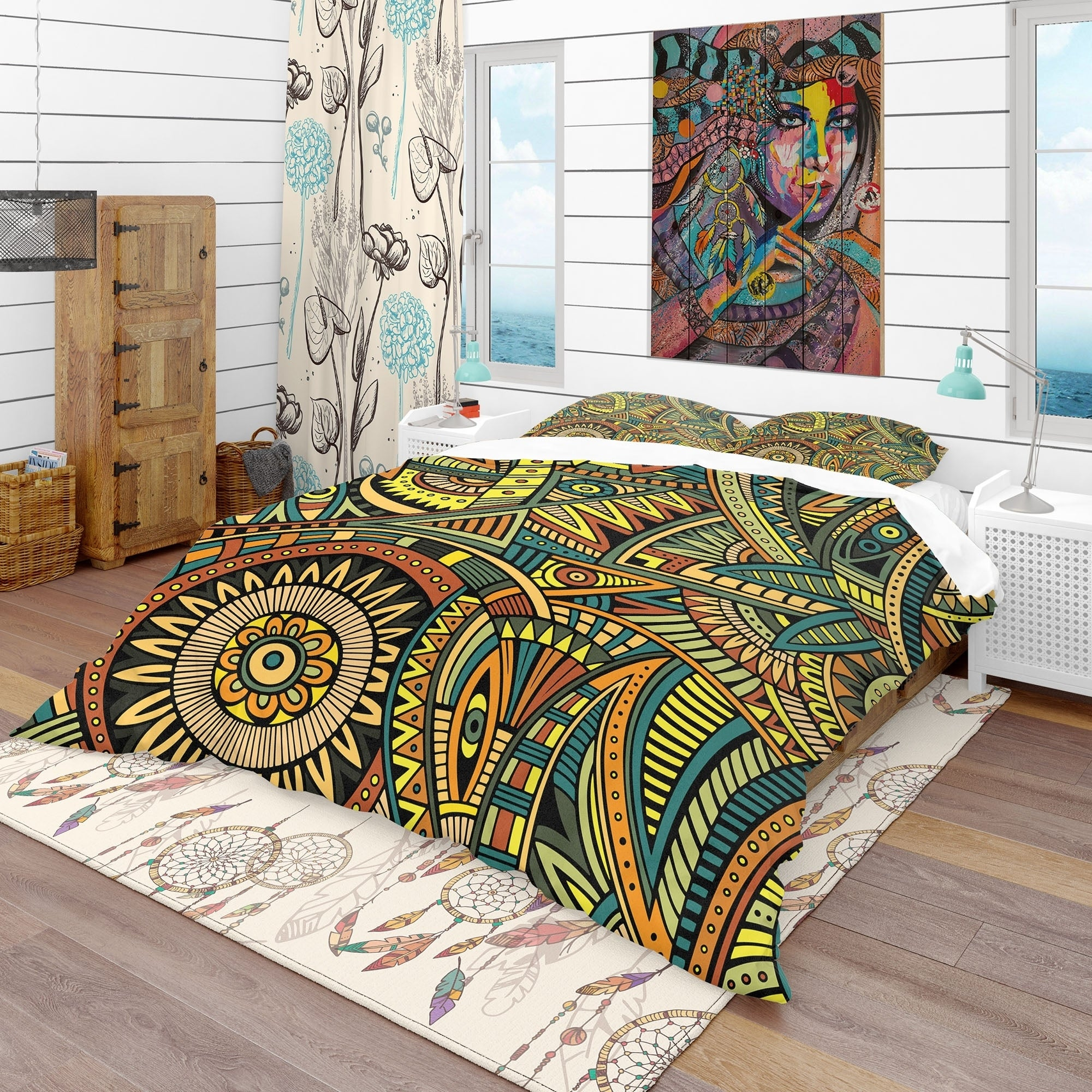 Designart Abstract Pattern Made Up Of Flower Bohemian Eclectic Bedding Set Duvet Cover Shams Overstock 23506333