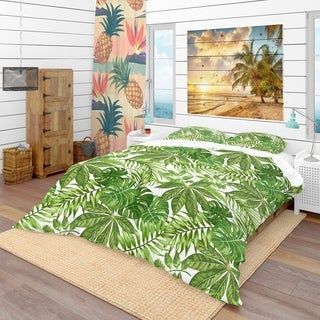 Designart - Exotic Pattern with Tropical Leaves - Tropical Duvet Cover Set