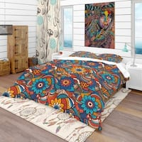 Designart 'Hand Drawn Pattern with Floral Elements' Bohemian & Eclectic Bedding Set - Duvet Cover & Shams