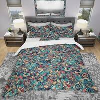 Designart 'Geometric Hand Drawn Background' Modern & Contemporary Bedding Set - Duvet Cover & Shams