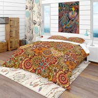 Designart 'Pattern Tile with Mandalas' Bohemian & Eclectic Bedding Set - Duvet Cover & Shams