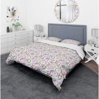 Designart 'Colorful Floral Pattern' Modern & Contemporary Bedding Set - Duvet Cover & Shams