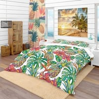 Designart 'Colorful Tropical Pattern' Tropical Bedding Set - Duvet Cover & Shams