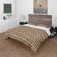 Designart 'Hemp Rope' Farmhouse Bedding Set - Duvet Cover & Shams