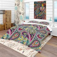 Designart 'Pattern Based on Traditional Asian Elements Paisley' Vintage Bedding Set - Duvet Cover & Shams
