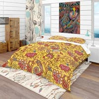 Designart 'Pattern in Ethnic Traditional Style' Bohemian & Eclectic Bedding Set - Duvet Cover & Shams