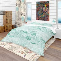 Designart 'Pattern Abstract with Colorful Ornament' Modern & Contemporary Bedding Set - Duvet Cover & Shams