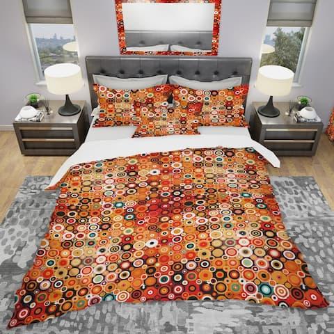 Designart 'Disco Style Pattern with Dots & Circles' Modern & Contemporary Bedding Set - Duvet Cover & Shams