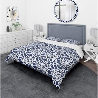 Designart - White & Blue Abstract Pattern - Mid-Century Modern Duvet Cover Set