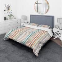 Designart 'Grunge Line' Mid-Century Modern Bedding Set - Duvet Cover & Shams