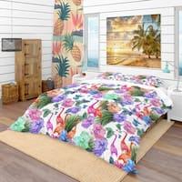 Designart 'Tropical Pattern with Flamingos' Tropical Bedding Set - Duvet Cover & Shams