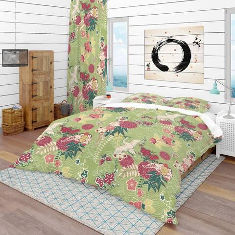 Designart 'Oriental Silk Pattern' Asian Bedding Set - Duvet Cover & Shams
