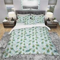 Designart 'Peacock Feather' Modern & Contemporary Bedding Set - Duvet Cover & Shams