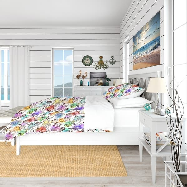 Designart Modern Seashells Pattern Nautical Coastal Bedding Set Duvet Cover Shams Overstock 23506434