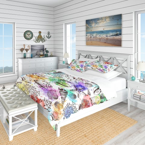 Designart 'Modern Seashells Pattern' Nautical & Coastal Bedding Set - Duvet Cover & Shams