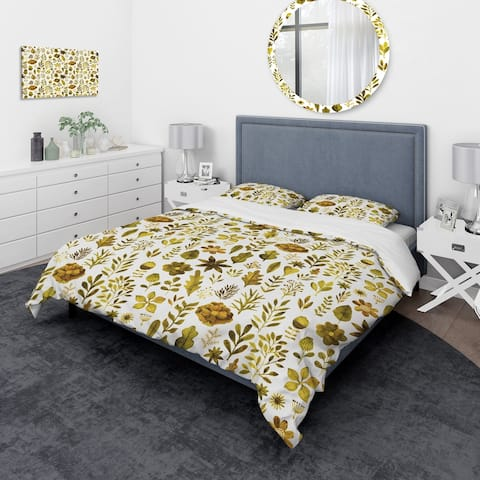 Designart 'Watercolor Texture with Flowers & Plants' Modern & Contemporary Bedding Set - Duvet Cover & Shams