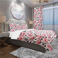 Designart 'Pattern with Roses' Modern & Contemporary Bedding Set - Duvet Cover & Shams