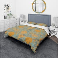 Designart 'Flower Pattern Botanic Texture' Bohemian & Eclectic Bedding Set - Duvet Cover & Shams