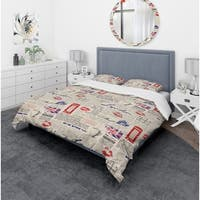 Designart 'Uk London Vintage Kiss Print' Modern & Contemporary Bedding Set - Duvet Cover & Shams