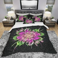 Designart 'Perfect Fractal Flower in Purple & Green' Modern & Contemporary Bedding Set - Duvet Cover & Shams