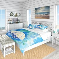 Designart 'Large Jellyfish Watercolor' Nautical & Coastal Bedding Set - Duvet Cover & Shams