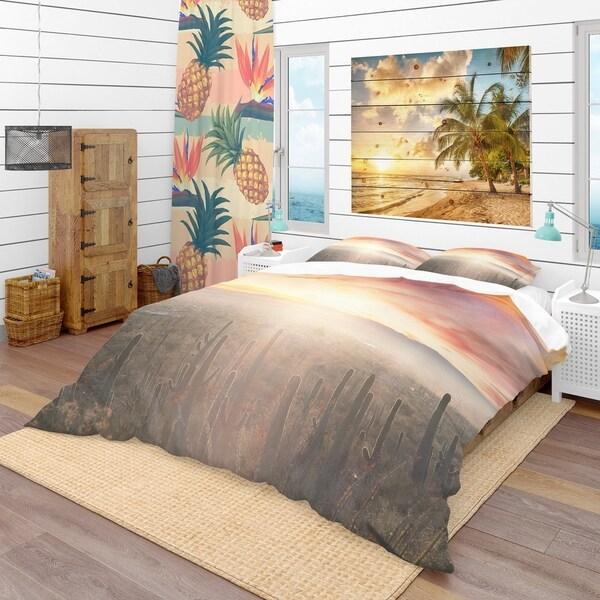 Beau Designart   Saguaro Cactus At Colorful Sunset   Tropical Duvet Cover Set