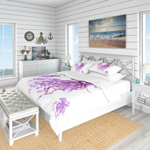 Designart 'Purple Jellyfish Watercolor' Nautical & Coastal Bedding Set - Duvet Cover & Shams