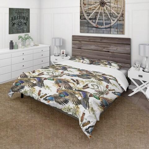 Designart 'Illustration of Colored Duck' Modern & Contemporary Bedding Set - Duvet Cover & Shams
