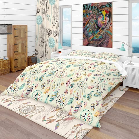 Designart 'Pattern with Native Indian-American Dream Catcher' Southwestern Bedding Set - Duvet Cover & Shams