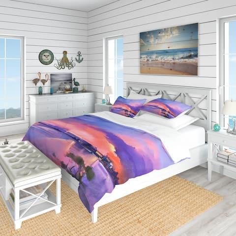 Designart 'Orange & Purple Sky in Twilight Sunset' Beach Bedding Set - Duvet Cover & Shams
